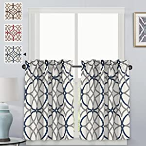 "H.VERSAILTEX Thermal Insulated Elegant Curtain Drapes Room Darkening Rod Pocket Kitchen Curtain Tier Set - Grey and Navy Geo Pattern - (58"" W x 36"" L Pair)"