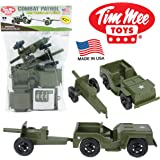 TimMee COMBAT PATROL Willys & Artillery: Green 4pc Playset - Made in USA