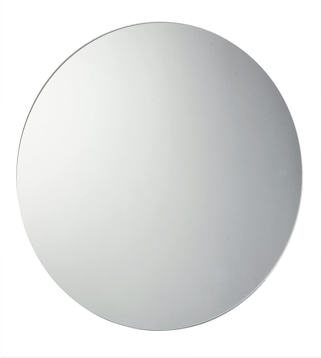 60cm Diameter Circular Round Bathroom Mirror, Unframed, Frameless Bathroom Mirror with Wall Hanging Fixing Hardware