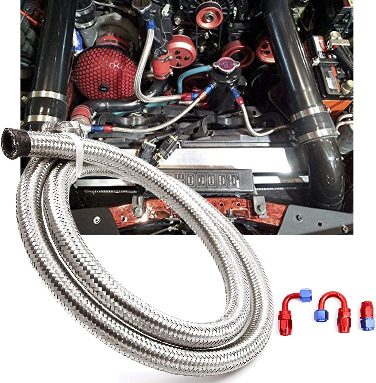 Dash8 Dieselschlauch Meterware Benzinschlauch Kraftstoffschlauch Dieselleitung Stahlflexschlauch Benzinleitung oelleitung Flexschlauch Benzinschlauch mit 3 STK AN8 Kraftstoffleitung 1M AN8
