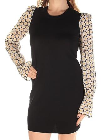 Amazon.com  Love Moschino Women s Daisy Sleeve Knit Dress Black ... c39fae476b0