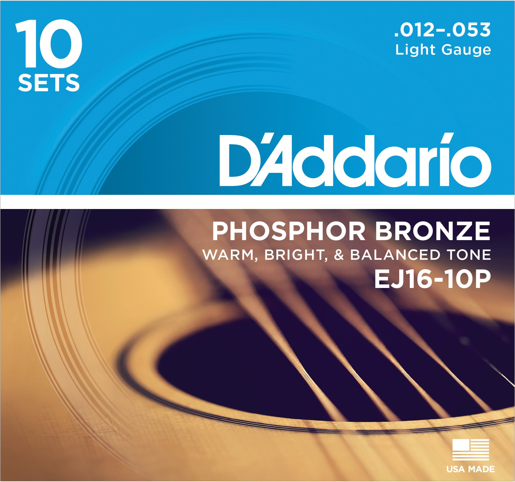 D'Addario EJ16 Phosphor Bronze Acoustic Guitar Strings, Light (10 Pack) - Corrosion-Resistant Phosphor Bronze, Offers a Warm, Bright and Well-Balanced Acoustic Tone and Comfortable Playability by D'Addario