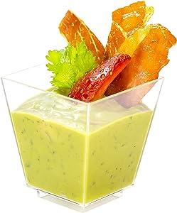 Square Mini Dessert Cup - 3.5 ounce - 50 Count - Lids & Spoons Included - Clear Plastic - Appetizer Cup - Parfait Cup - Dessert Cup -Disposable or Reusable