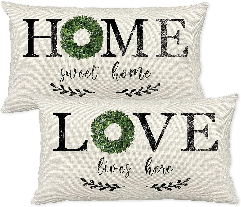 Farmhouse Pillow Covers 12x20 Inch,Set of 2 Decorative Farmhouse Lumbar Pillow Covers with Home Sweet Home Pillow Covers Love Lives Here Pillow Covers for Farmhouse Decor