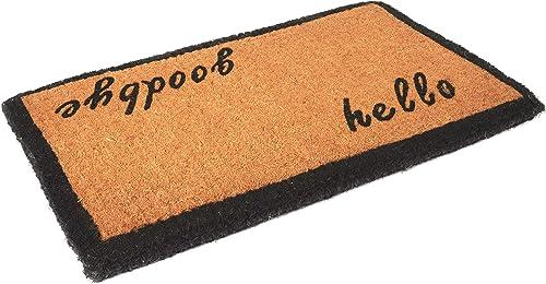 Envelor Home and Garden Handwoven, Extra Thick Doormat, Outdoor Rugs Durable Coir, Outdoor Doormat, Welcome Mat Entryway Door Mat For Patio, Coir Doormat 18 x 30, Hello GoodBye