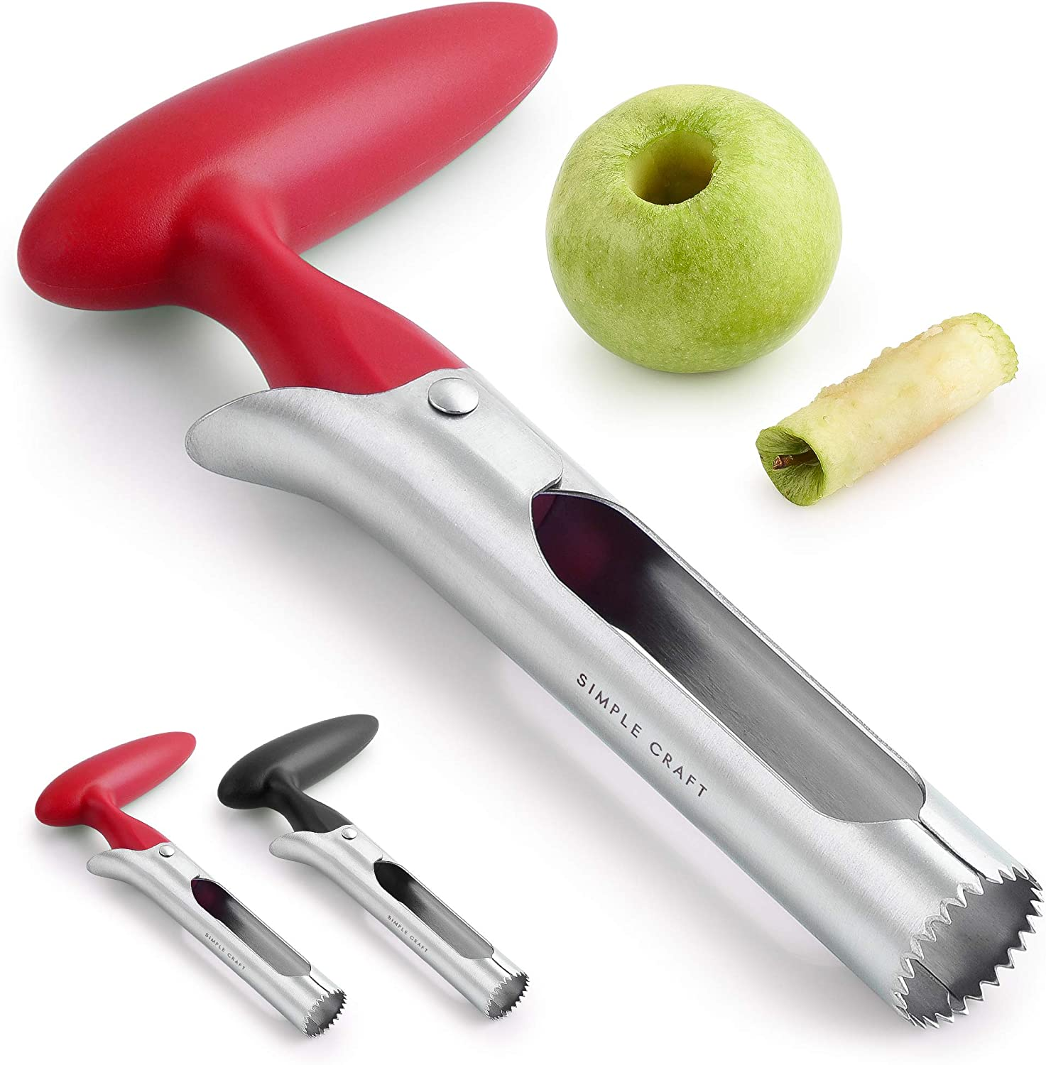 Simple Craft Apple Corer - Premium Stainless Steel Apple Corer Tool For Removing Cores & Pits - Sharp Serrated Core Remover For Apples & Pears (Red)