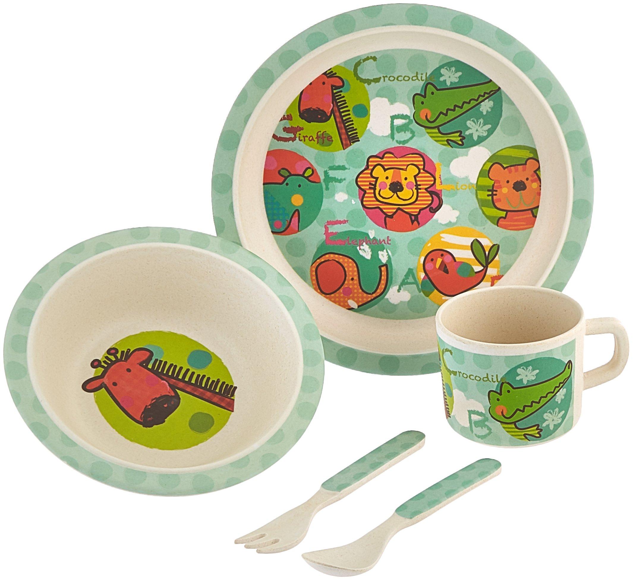 Culina Kids Bamboo 5-piece Dinnerware Set - Jungle Animals  sc 1 st  Amazon.com & Amazon.com : Culina Kids Bamboo 5-piece Dinnerware Set - Butterfly ...