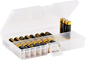 (AAA+AA) - Whizzotech W9016 Clear AA/AAA Plastic Battery Storage Case/Organiser/Holder Holds 48 AA Batteries BL01