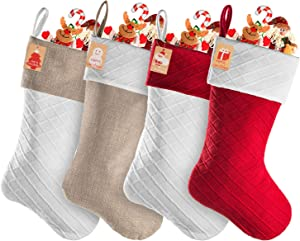 Niashop Christmas Stockings,18 inches Personalized Burlap Cotton Large Luxury in Bulk Stockings Set for Farmhouse Rustic Family Holiday Xmas Decorations (4, Red,White,Burlap)