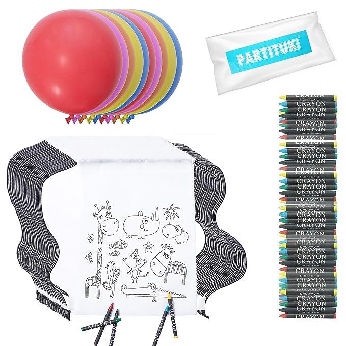 Partituki 20 Mochilas de Colorear con 20 Sets de 5 Ceras de Colores. Incluye 10 Globos Gigantes de Decoración de Fiestas. Ideal para Detalles Cumpleaños ...