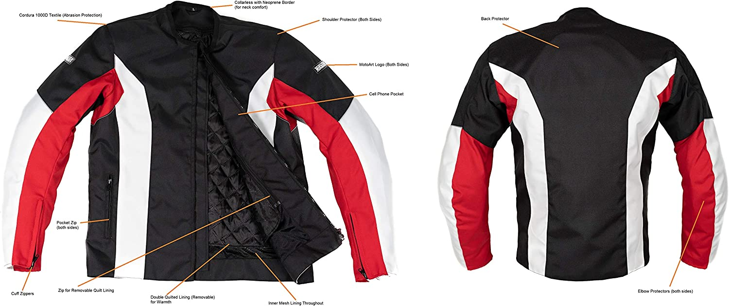 MotoArt UltimateRider Textile Motorcycle Jacket Cordura 1000D S, Red,Black,White