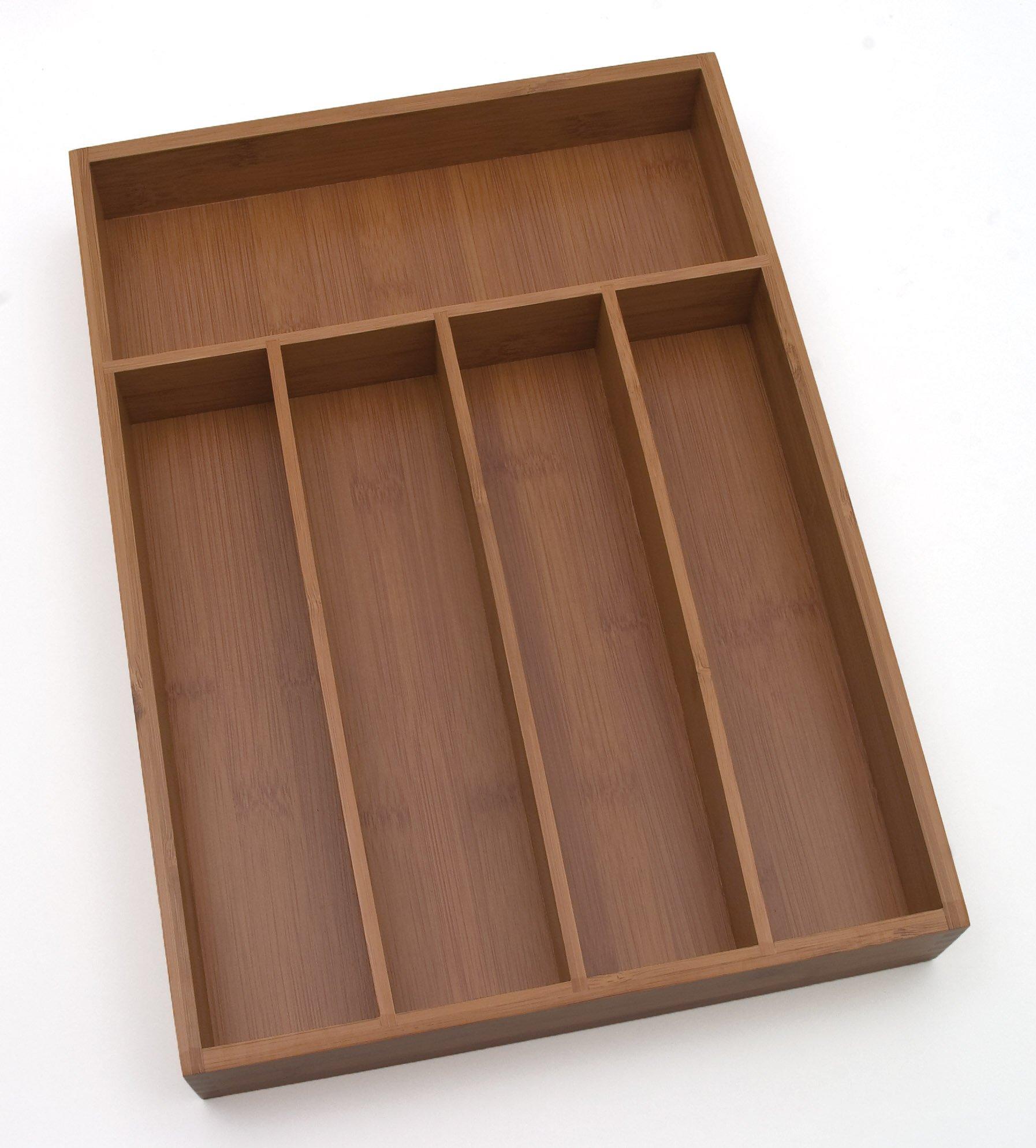 Lipper International 8876 Bamboo Wood Flatware Organizer with 5 Compartments, 10-1/4'' x 14'' x 2''