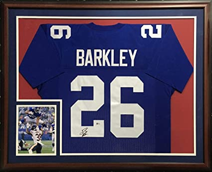 promo code 3c66d f2444 Saquon Barkley signed #26 Giants Jersey Framed Rookie ...