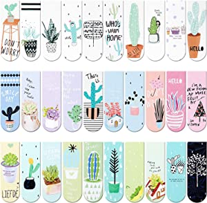 30 Pieces Magnet Magnetic Bookmarks Cute Magnet Page Markers Page Clips Bookmark for Student Office Reading Stationery (Plant)