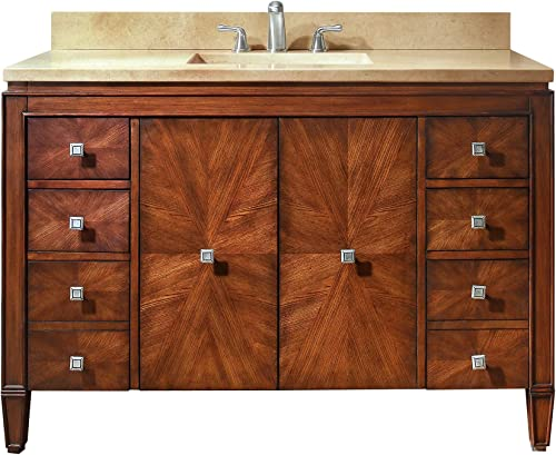 Avanity Brentwood 49 vanity with Galala Beige marble top in New Walnut finish