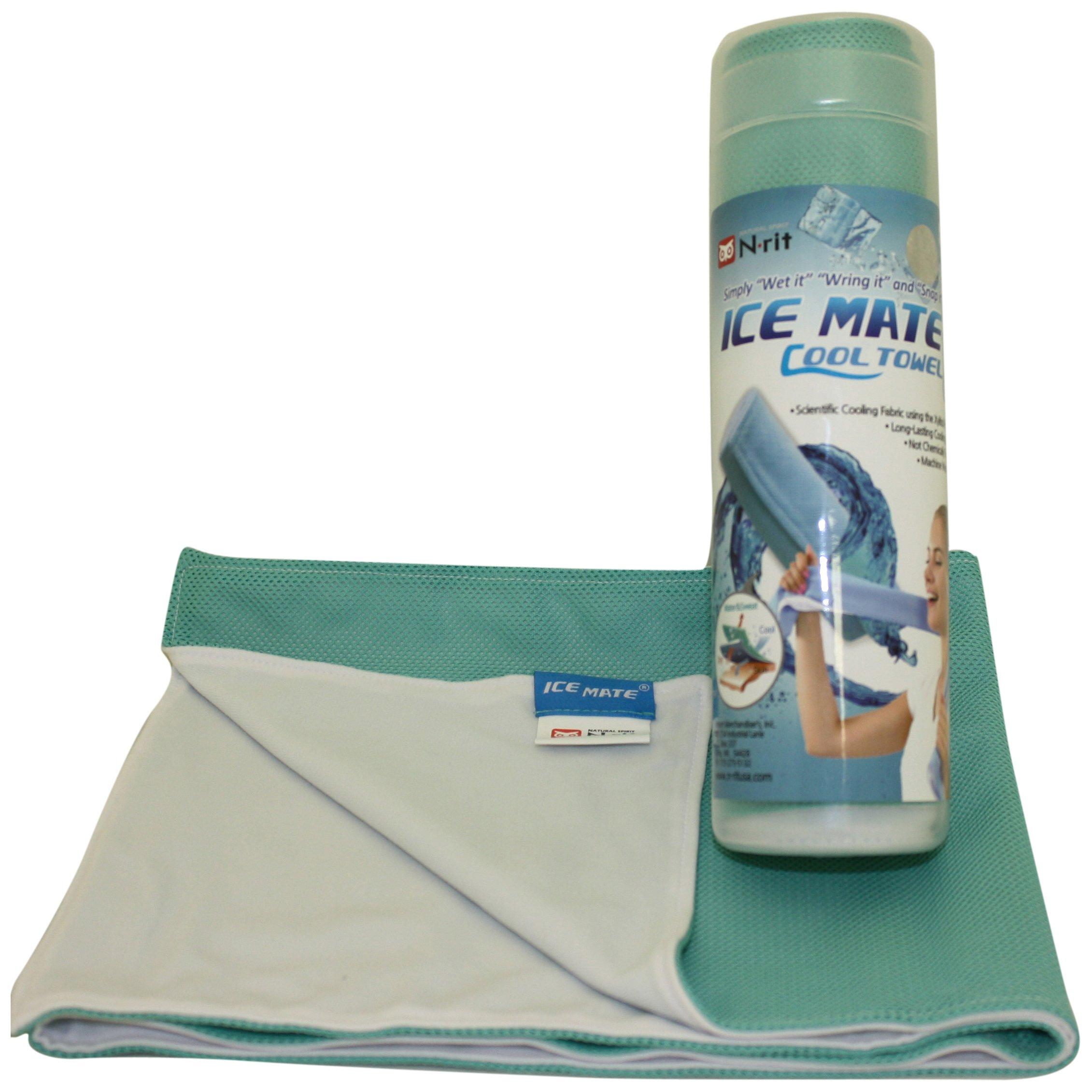 N-Rit Ice Mate Cool Towel Emerald Green & White