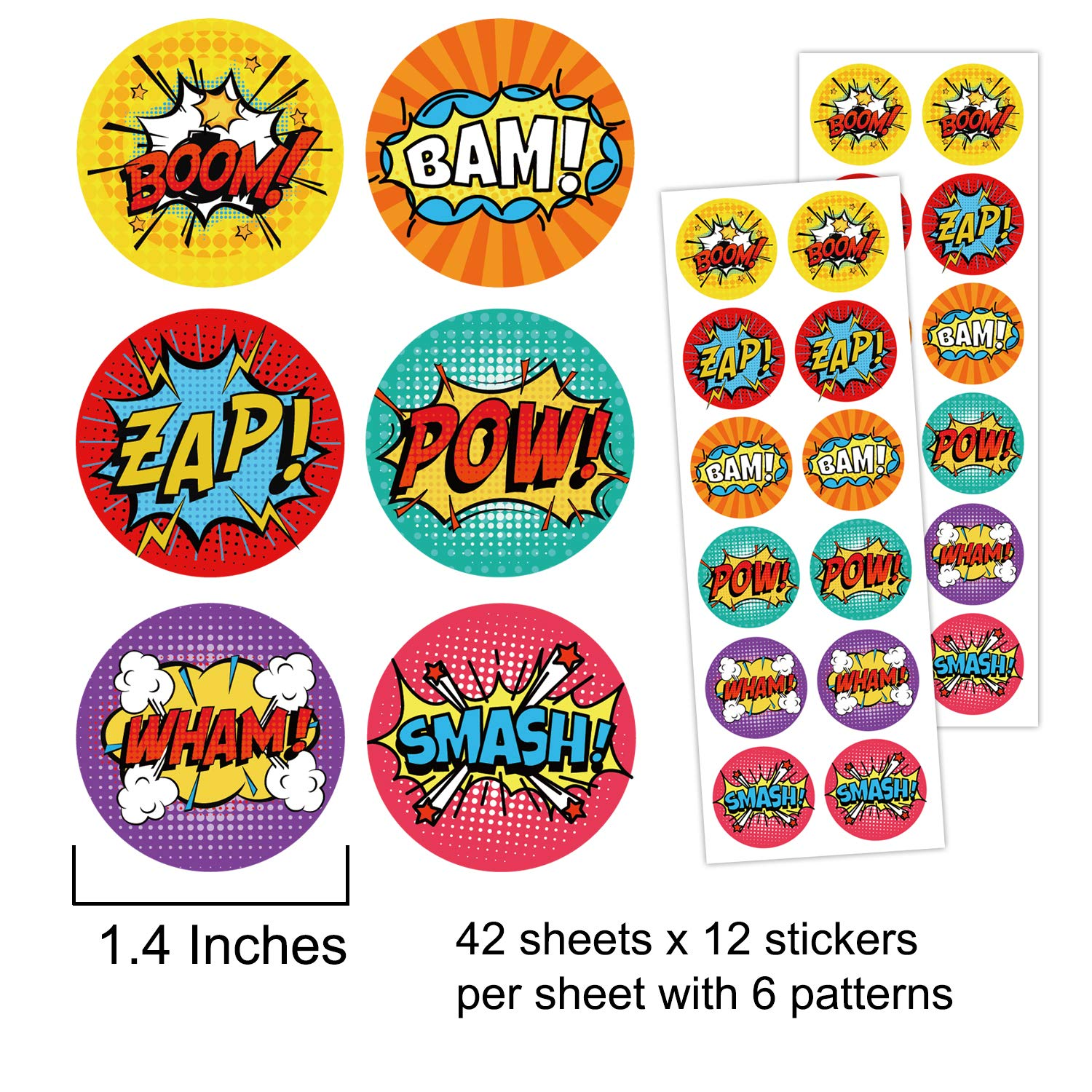 Superhero Party Supplies Stickers for Kids 1.4 Inches 500 Stickers Mr.Mug Superhero Stickers