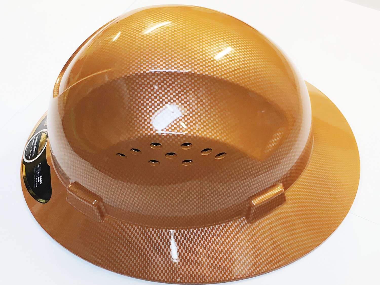 HNTE-TAN Fiberglass Hard Hat Safety Full Brim Helmet, Nylon Ratchet Suspension, 4-Point, {Top Impact} Safety Hard Hat Cool Air Flow Vent System