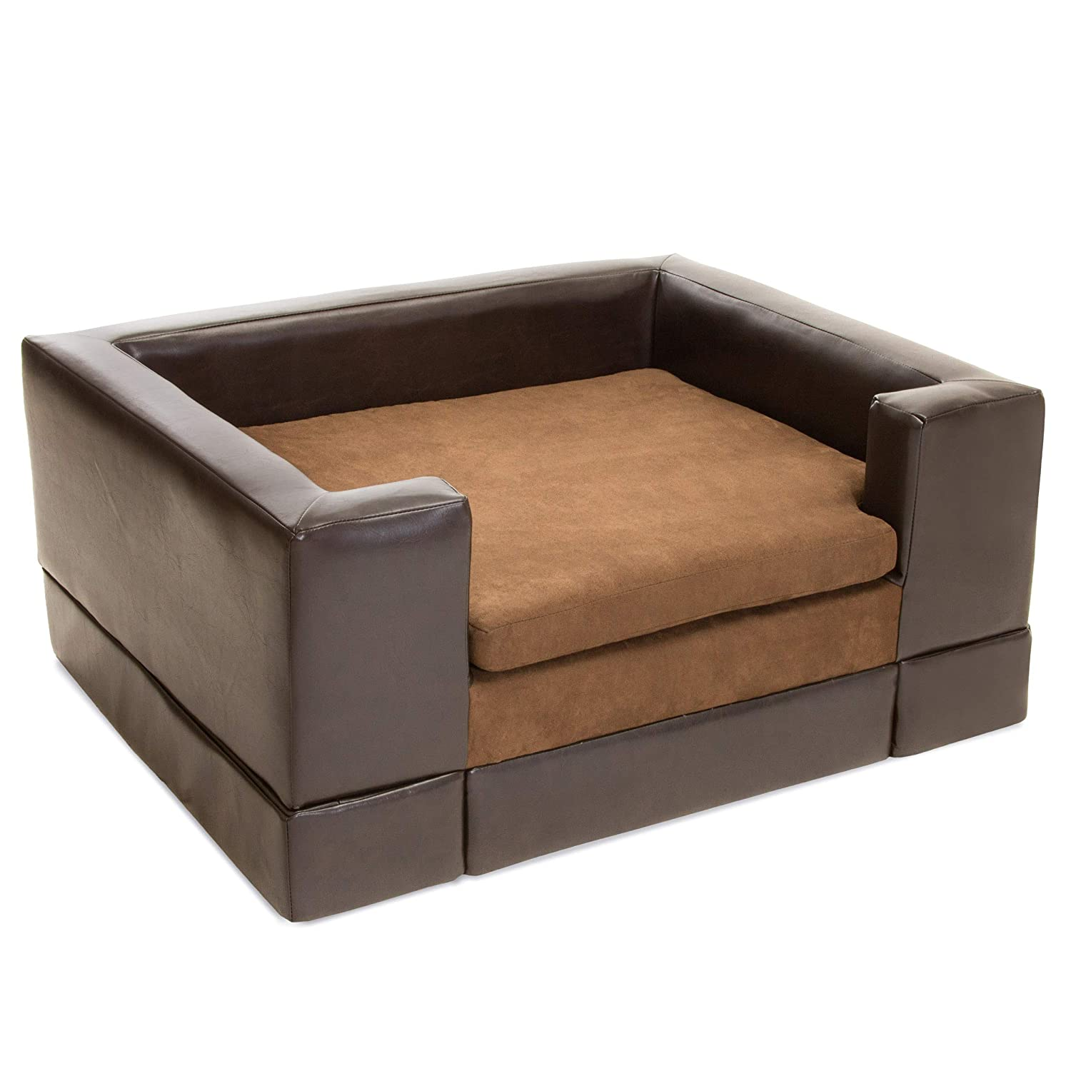 Christopher Knight Home 295168 Rover Large Chocolate Brown Leather Pet Sofa  Bed, 37.75 x 30.70