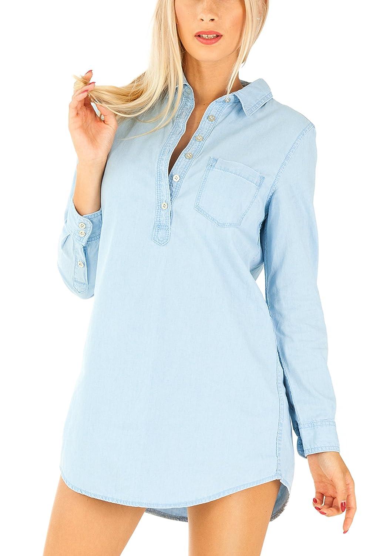 Bestyledberlin Damen Kleid, Langes Jeanshemd / Jeanskleid k73p