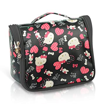 8e72a5ed03 Amazon.com   Finex Black Hello Kitty Toiletry Shower Bag with Hanging Hook  Cosmetic Make up Organizer Bag for Travel Accessories Personal Items with  Mesh ...