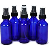 6, Cobalt Blue, 2 oz Glass Bottles, with Black Fine Mist Sprayers