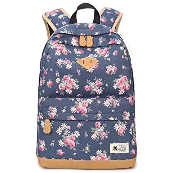 e3294461b5bf0 Blumen Rucksack Mode Floral Schulrucksack Daypacks für Mädchen Schule  Reiserucksack (Blau)