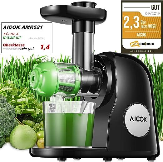 Slow Juicer, Aicok BPA frei Entsafter Gemüse und Obst, Leistungsstarker Ruhiger Motor & Umkehrfunktion & Saftkanne & Reinigungsbürste, Leicht zu