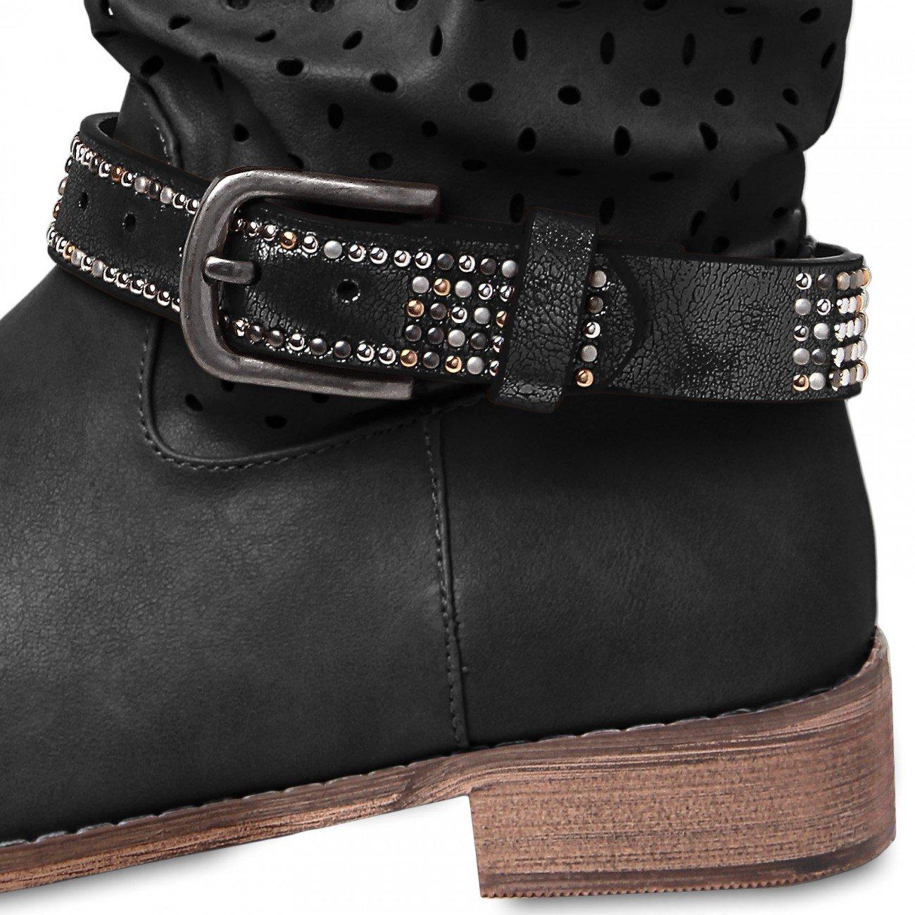 CASPAR - Bijou de botte et chaussure pour femme avec clous - plusieurs coloris - STB001 Farbe:schwarz metallic CASPAR Fashion 4250799679147