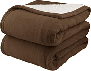Pure Warmth by Biddeford MicroPlush Sherpa Electric Heated Blanket King Chocolate