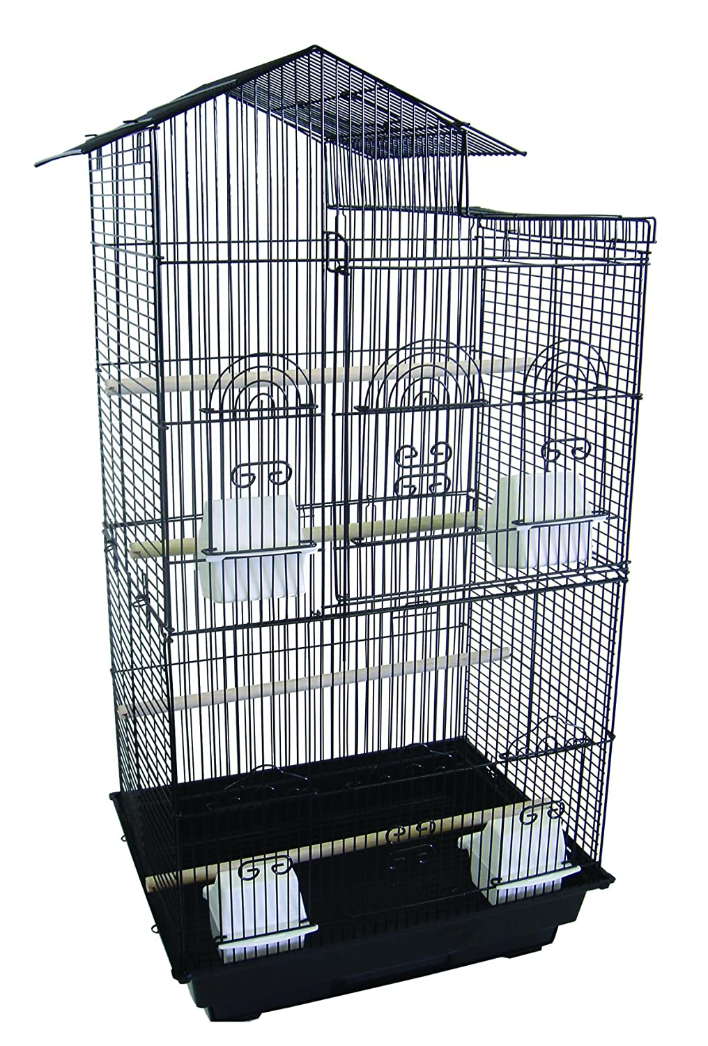 YML A6894 3/8-Inch Bar Spacing Tall Villa Top Small Bird Cage, 18-Inch by 14-Inch, Black A6894BLK