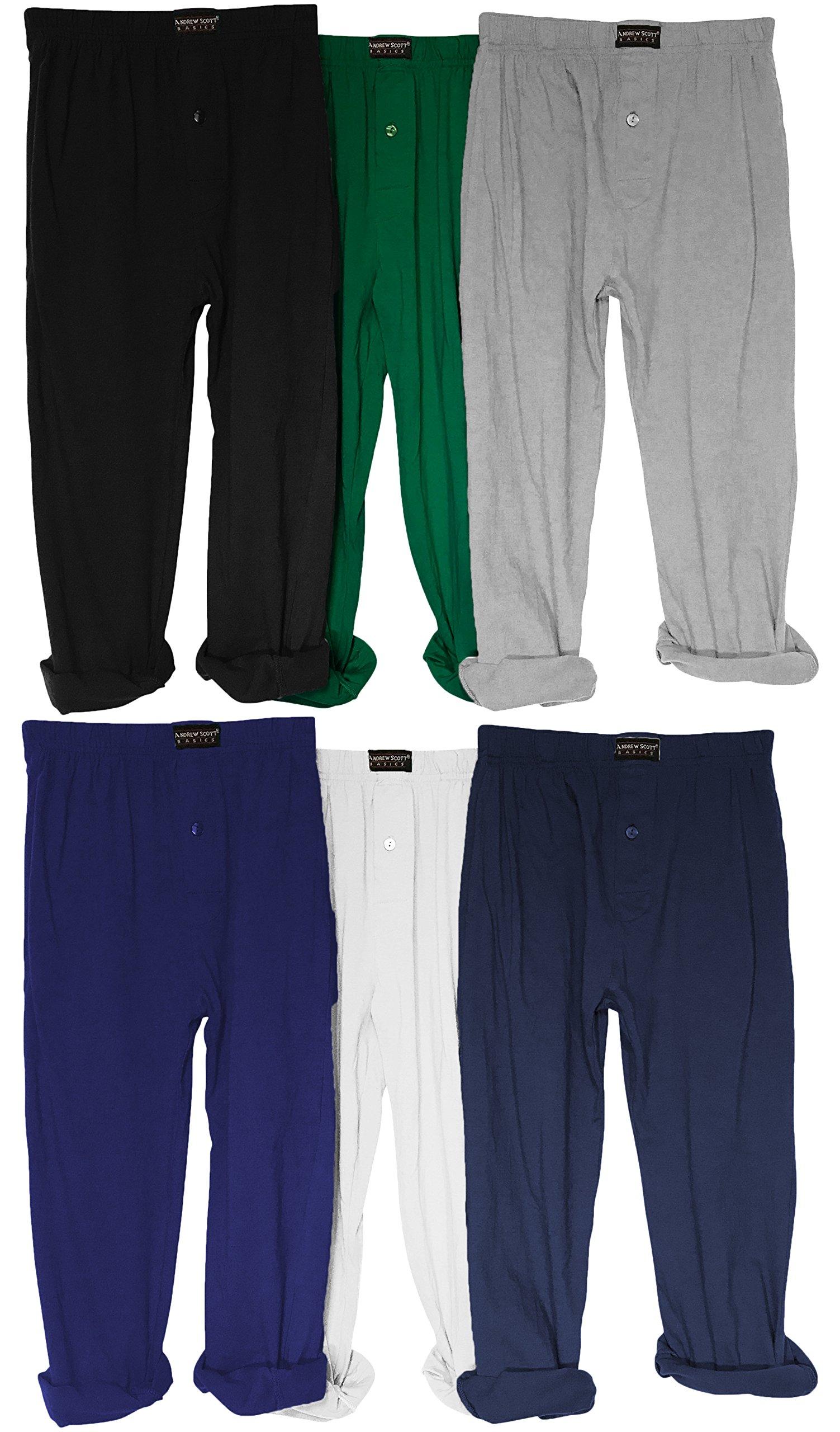 Andrew Scott Boy's 3 Pack Jersey Knit Soft & Light Active Yoga/Beach Pants (Medium, 6 Pack - Black Navy White Royal Hunter Grey)