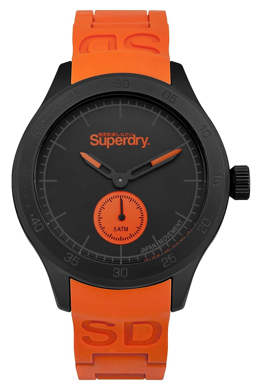 Superdry Reloj Analogico para Hombre de Cuarzo con Correa en Silicona SYG212OB