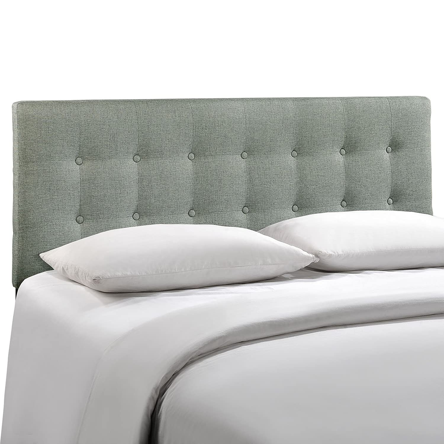 Amazon.com: Modway Emily Upholstered Tufted Button Fabric Full Size  Headboard In Gray: Kitchen & Dining - Amazon.com: Modway Emily Upholstered Tufted Button Fabric Full