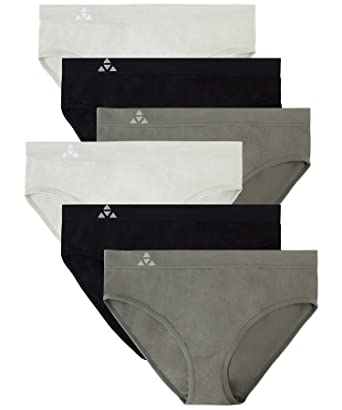 cc25a83d21b Balanced Tech Women s Seamless Bikini Panties 6-Pack - Grey Charcoal Black -
