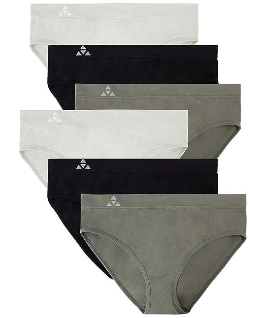 2947045f0ef8a Balanced Tech Women s Seamless Bikini Panties 6-Pack - Grey Charcoal Black -