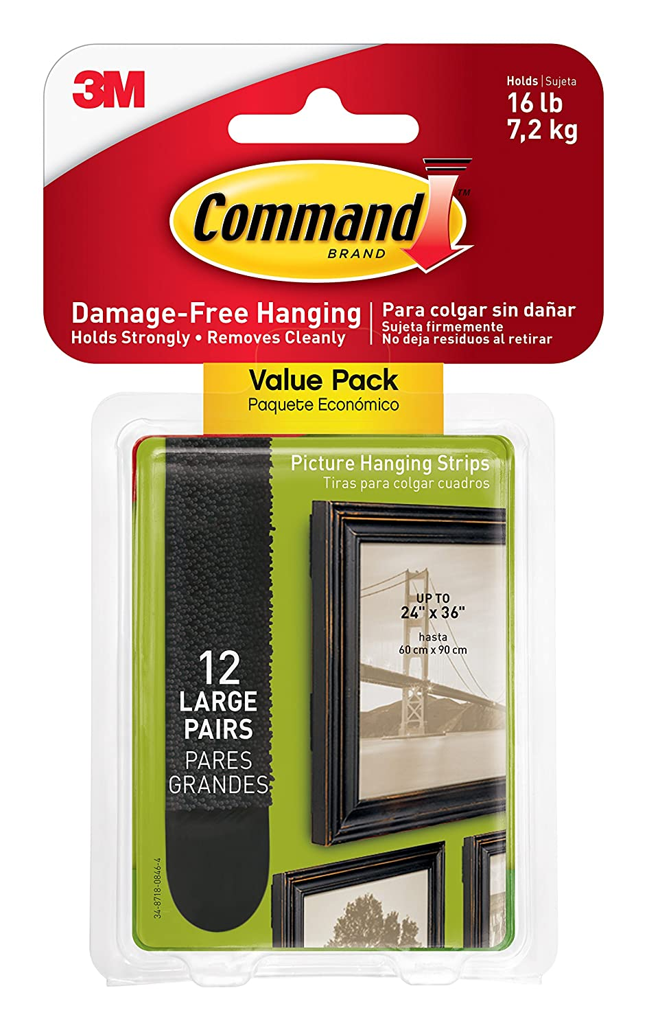 Command by 3M Damage-Free Picture Hanging Strips, Decorate and Hang without Tools, 6 Pairs (12 Strips), Multi-Pack (17206-6ES)