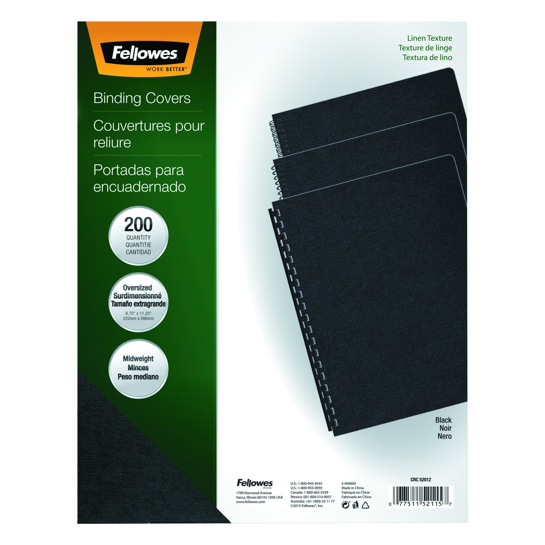 Fellowes 52115 Linen Texture Binding System Covers, 11-1/4 x 8-3/4, Black (Pack of 200) by Fellowes (Image #4)