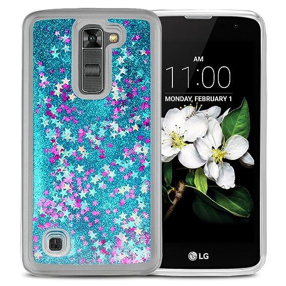 arrives 7514c c07ec Case Compatible LG K7, ESEEKGO Floating Liquid Case for LG K7 Soft Cover  TPU Bumper 3D Bling Case (Blue)