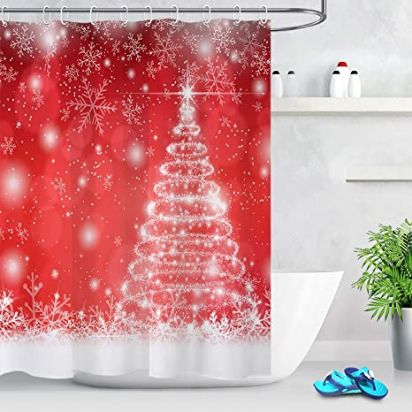 """Xmas Red Background White Snowflakes Waterproof Fabric Shower Curtain Set 72x72/"""""""