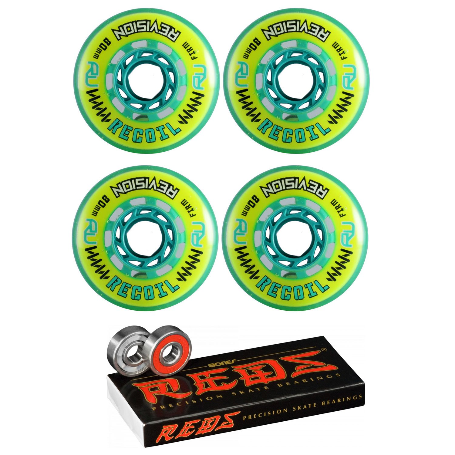 Revision Wheels Inline Roller Hockey Recoil 76mm 78A 4-Pack with Bones Bearings