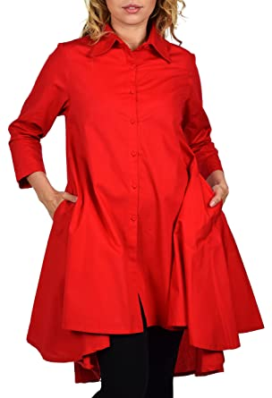 37621a5751a89 Dare2BStylish Hi Low Button Down A Line Swing Dress Shirt Top Reg and Plus  Sizes