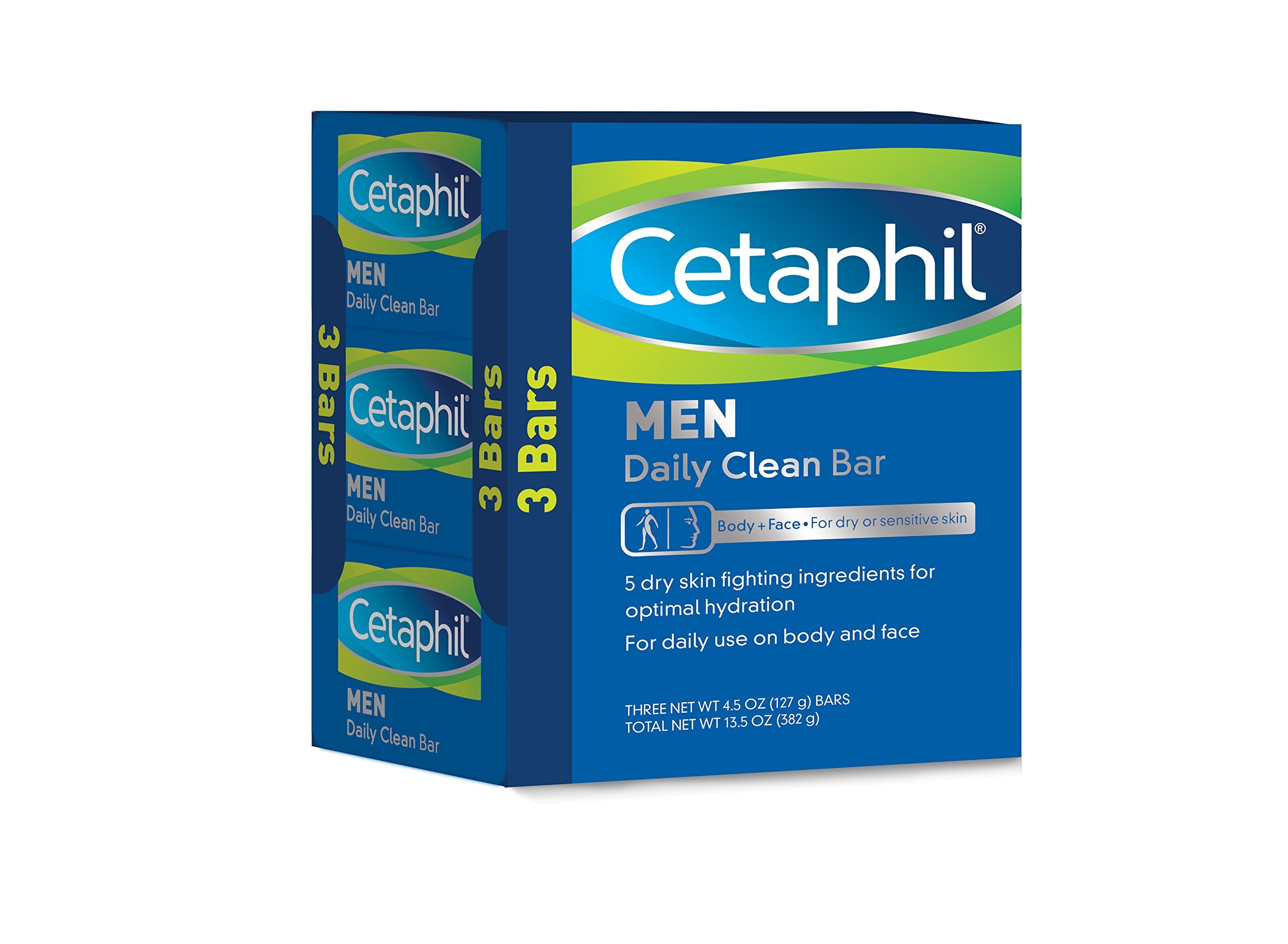 Cetaphil Men Daily Clean Bars, 13.5 Ounce, 3-Pack