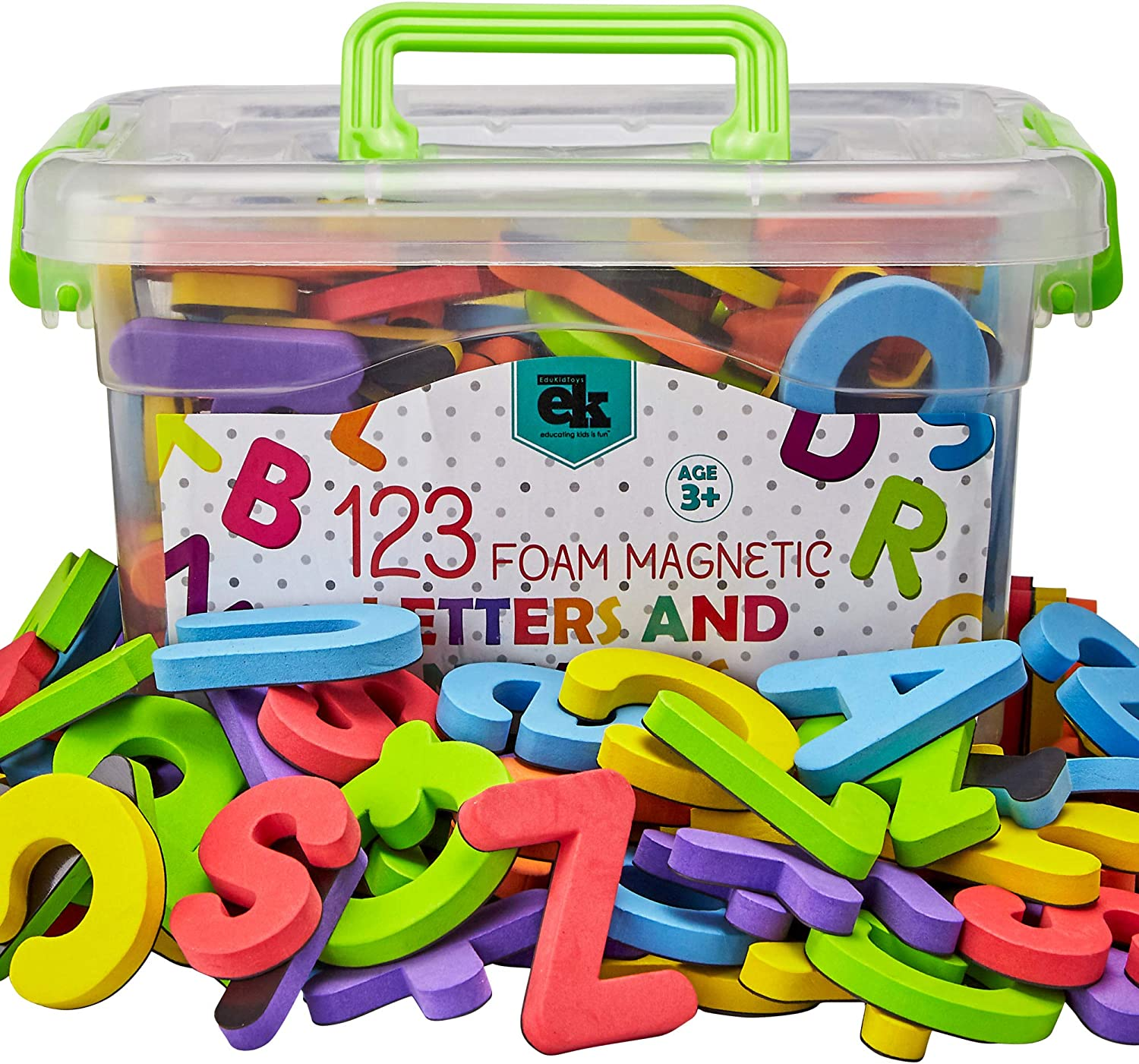 Magnetic Foam Letters and Numbers Premium Quality ABC, 123 Foam Alphabet Magnets | Educational Toy for Preschool Learning, Spelling, Counting in Canister