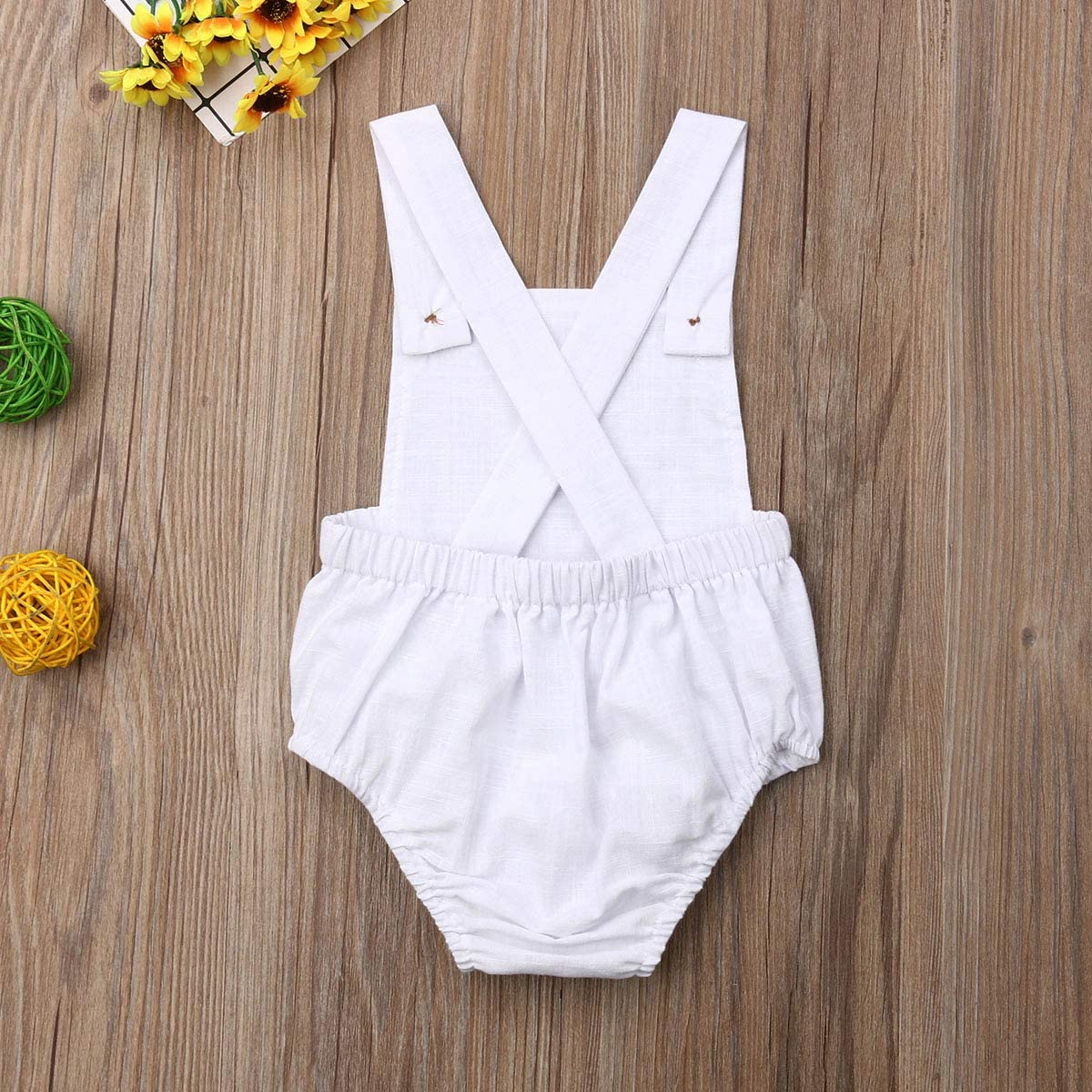 doublebabyjoy Newborn Baby 1 Piece Summer Romper Baby Girl Boy Solid Color Jumpsuit Sleeveless Backless Overalls Outfits