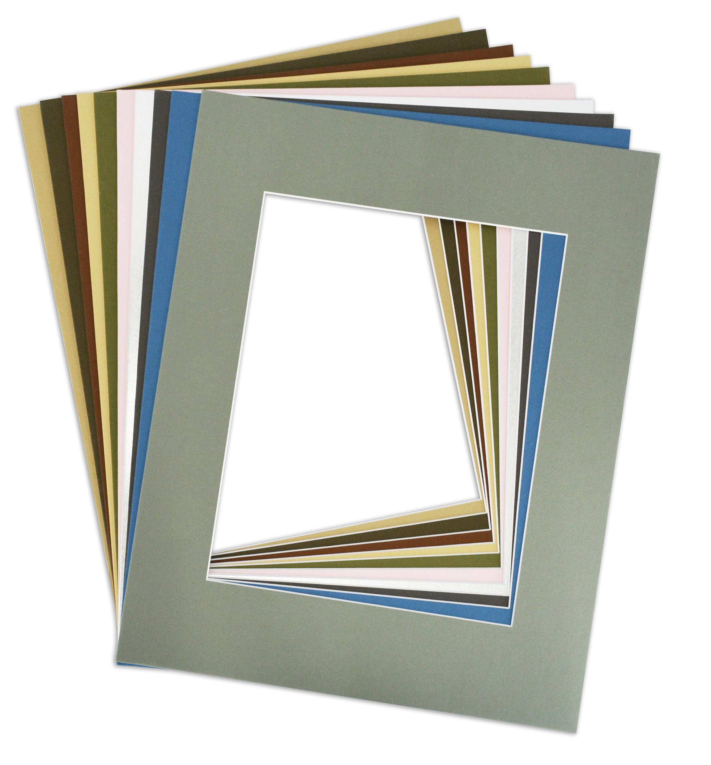 Golden State Art Pack of 10 MIXED COLORS 16x20 Picture Mats Matting with White Core Bevel Cut for 11x14 Pictures