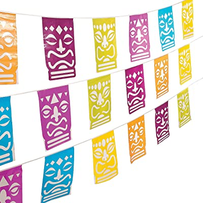 Tiki Luau Cut Out Pennant Banner (100 feet long) Tropical Party Decor: Toys & Games