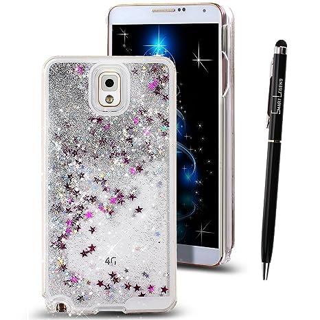 Funda para Samsung Galaxy note 3 , Caja de plástico transparente para Galaxy note 3 III N900 N9005 N9000, SMART LEGEND Dual Layer 3D Líquido Glitter ...