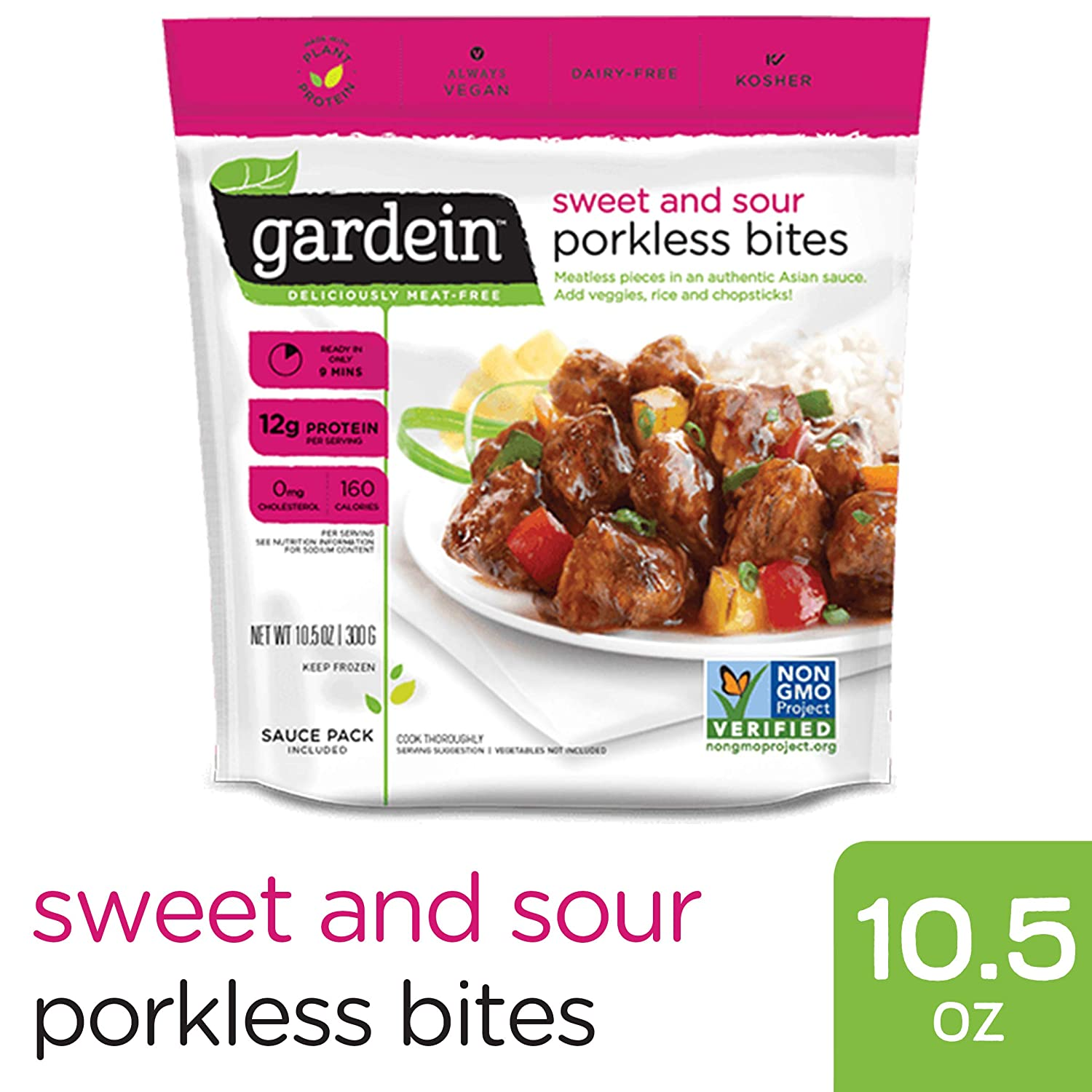 Gardein Sweet and Sour Porkless Bites, Meatless Protein Packed Meal with Sauce, Ready in 8 Minutes, Contains Sauce Packet, 10.5 Ounces (Frozen)