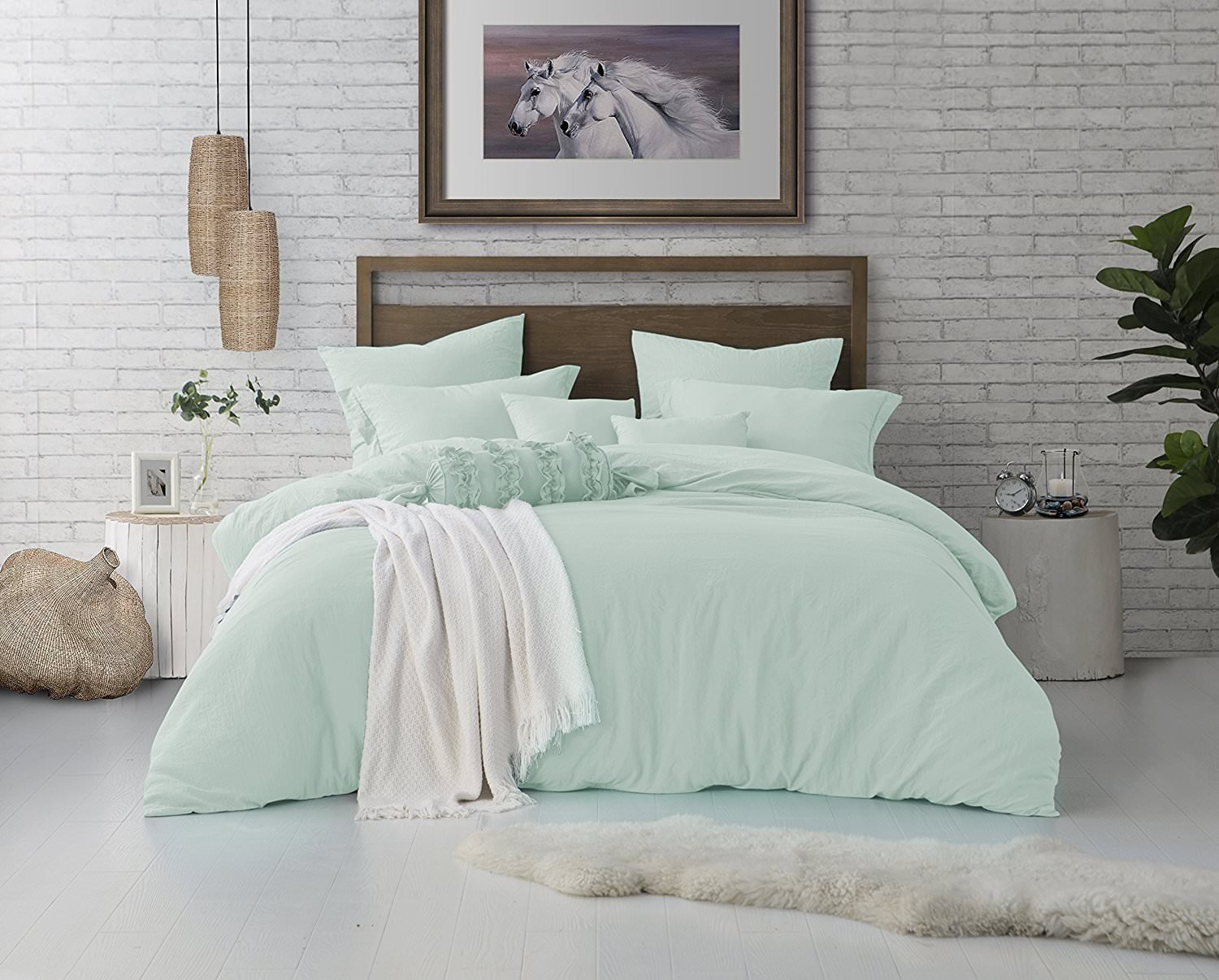 Allure Home Furnishing, 1000 TC, 3 Piece Duvet/Comforter Cover, Protects and Covers Your Comforter/Duvet Insert, Luxury Microfiber, Includes 2 Pillow Shams, King, Mint Blue